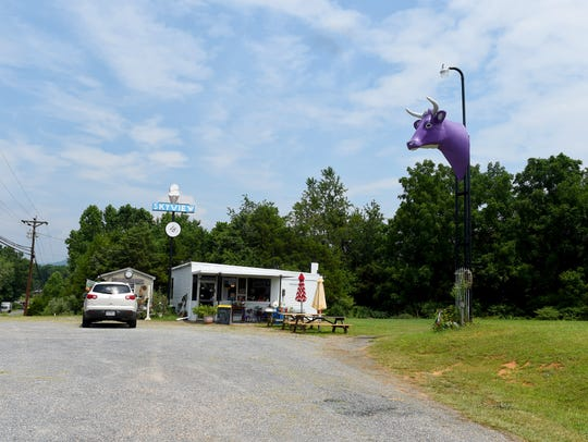 The Purple Cow Ice Cream Parlor is located on U.S.
