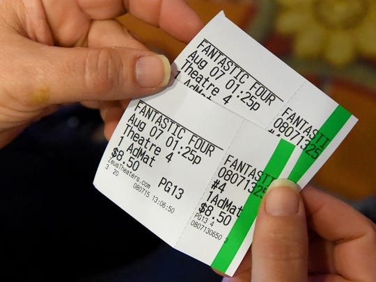 "Two tickets for a matinee showing of ""Fantastic Four"""