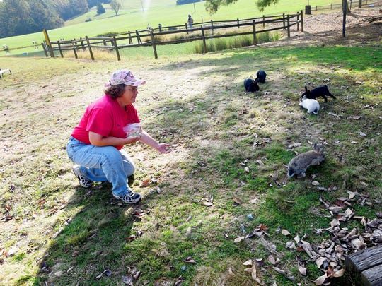 Campground manager Tina Riner offers food to some of