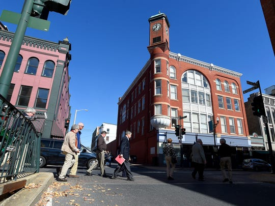 Participants in a walking tour of downtown Staunton