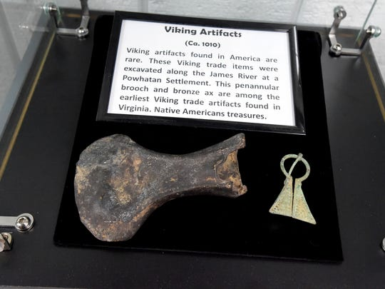"A bronze ax head and penannular brooch (Ca. 1010) are among Viking trade items excavated along the James River at a Powhatan settlement. The items are among those on display in ""The Story of Virginia"" museum, located inside Wilderness Adventure in Staunton."