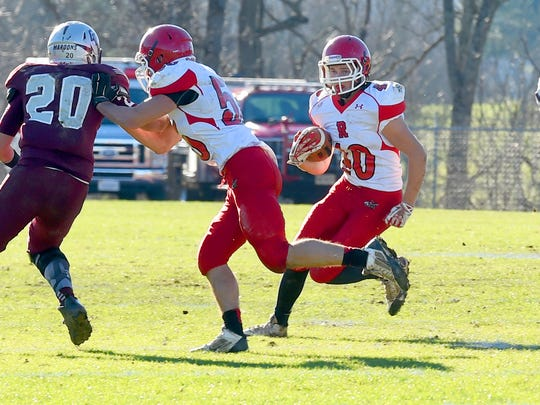 Riverheads' Harrison Schaefer runs the football during the Group 1A state semifinal football game played in Wytheville on Saturday, Dec. 5, 2015.