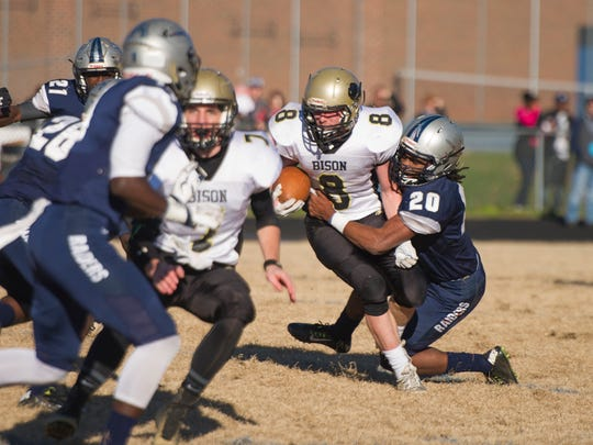 Buffalo Gap's Austin Comer is brought down by Appomattox's