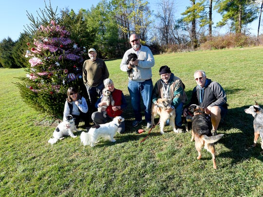 Dog owners Jackie Brokamp, Bob Scates, Karen Reed, Tom Brokamp, Harry King and Rick Womble are photographed with their dogs next to a tree decorated by dog walkers, such as themselves, for the holiday at Coyner Springs Park in Waynesboro on Tuesday, Dec. 15, 2015. Three years ago, Dorcus Gale was the person to start the tradition of decorating the tree. Dogs pictured include (in no particular order): Murphy, Lucy, Tashi, Sheila, Mackey, Dingo, Riley, Max and Maddie.