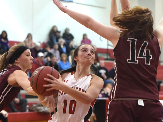 Riverheads' Christa Arehart eyes the basket and will
