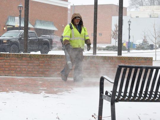 Bernard Newman of Waynesboro Parks and Recreation blows