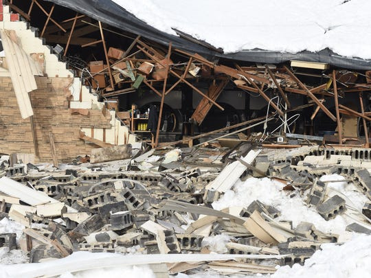 Heavy snow caused the roof on Wayne Lanes in Waynesboro to collapse on Saturday, Jan. 23, 2016.
