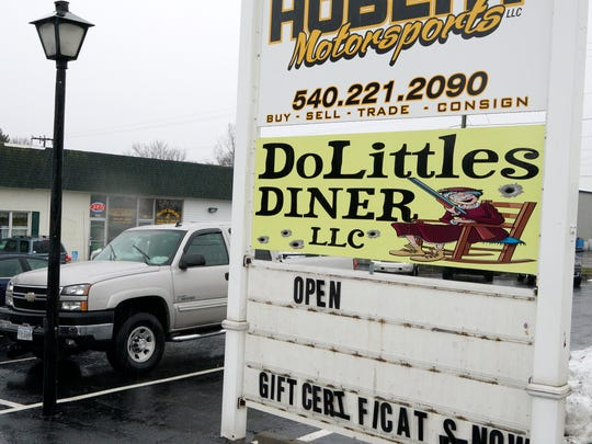 A sign marks the location of DoLittle's Diner on U.S. 340 in Stuarts Draft.