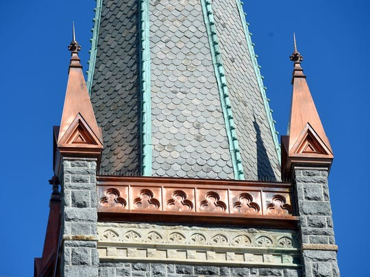 Copper work associated with the bell tower of St. Francis of Assisi Catholic Church.