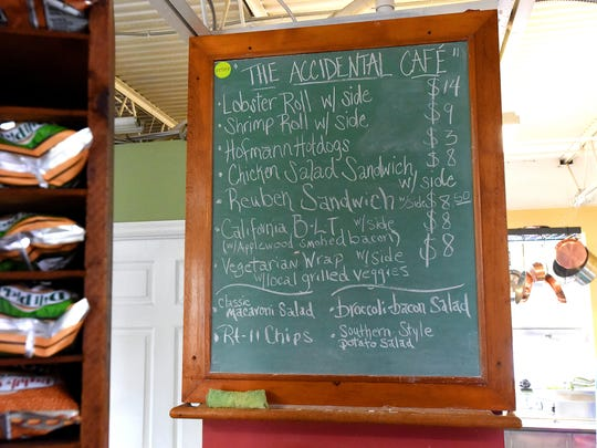 "Menu for ""The Accidental Cafe"" at Stuff: Antique and Vintage Interiors in Staunton."