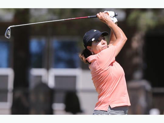 Monica Campos tees off Friday at the Horizon Golf Club.
