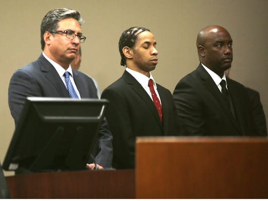 Carlos Antonio Holcombe, center, and his defense team listened to the jury return five guilty verdicts Monday in 41st District Court. Holcombe was convicted ofthree counts of aggravated sexual assault of a child, and one count each of aggravated kidnapping and indecency with a child involving sexual contact. He was charged with the 2014 kidnapping and sexual assault of a 12-year-old girl at a Horizon High School football game.