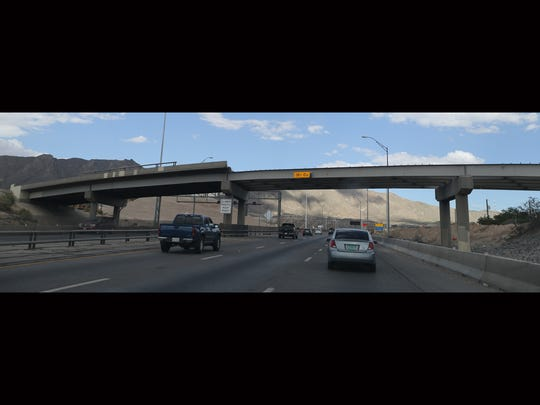 Traffic moves on Interstate 10 beneath the Buena Vista
