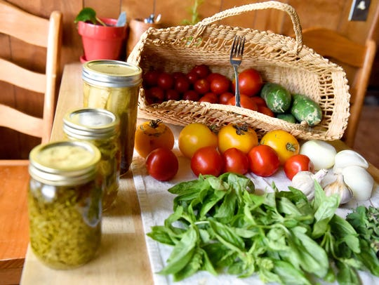 Home grown food harvested by Linda Tabor from her garden
