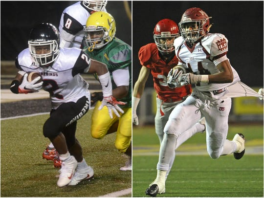 Pearl-Cohn running back Jimmyrious Parker (left) and MBA running back Ty Chandler (44)