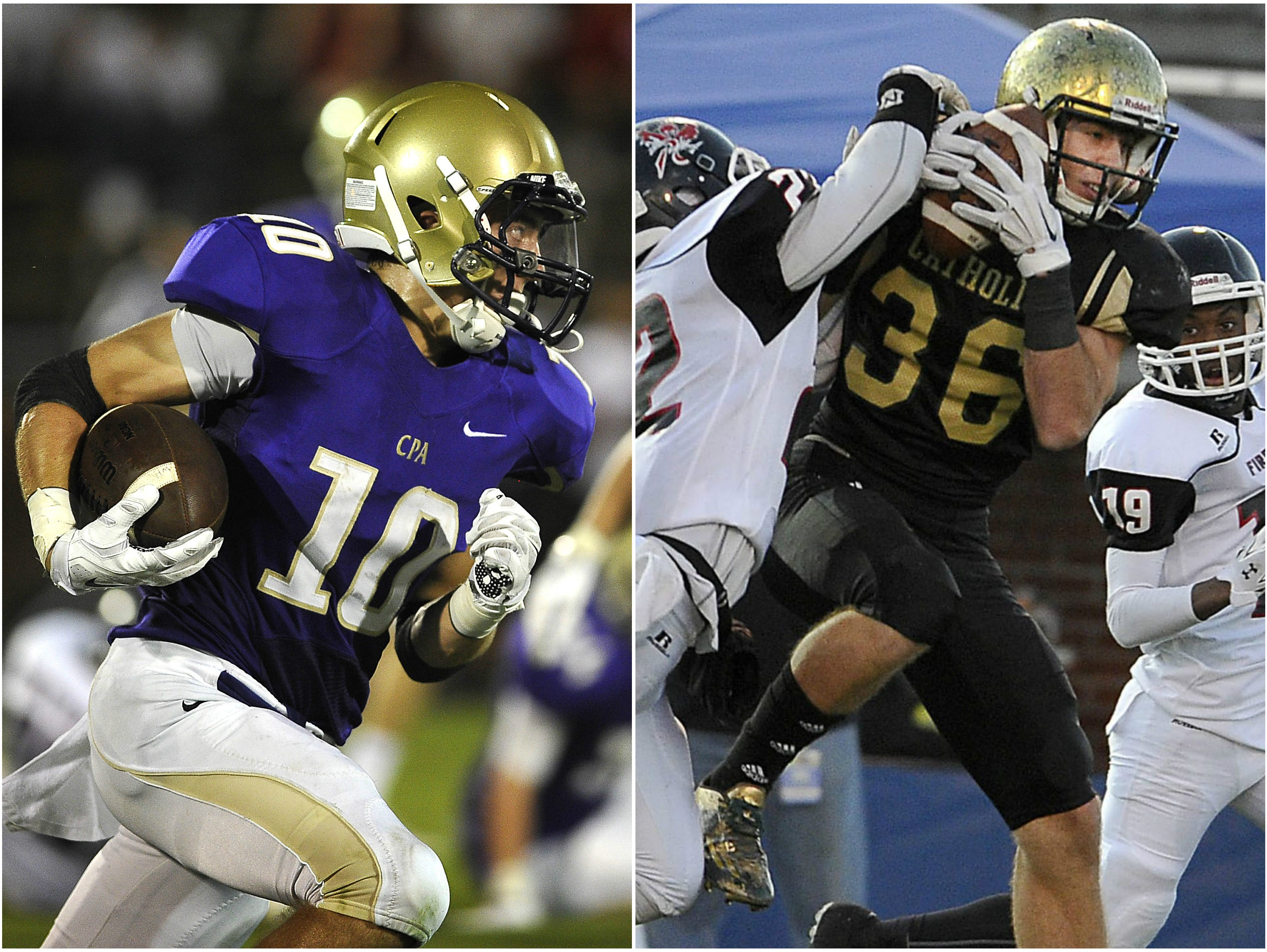 CPA wide receiver Andrew Howard (left) and Knoxville Catholic athlete Chase Kuerschen (right)