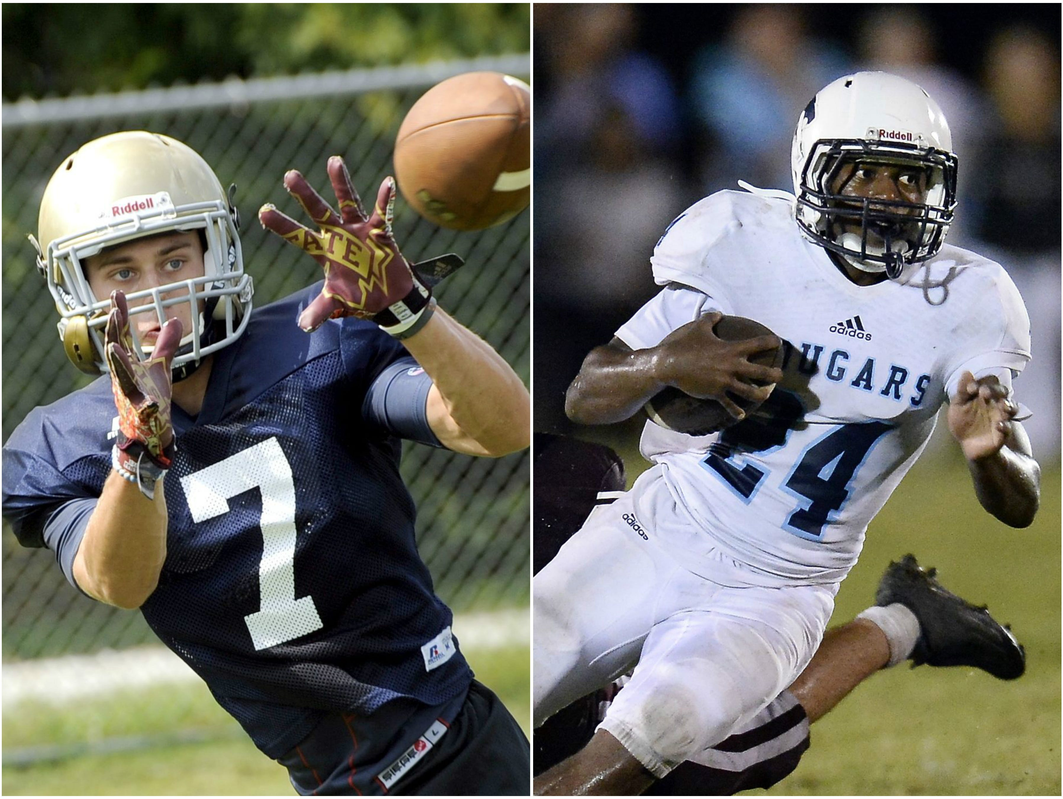 Independence defensive back Landon Guidry (left) and Centennial running back Zyon Lee (right)