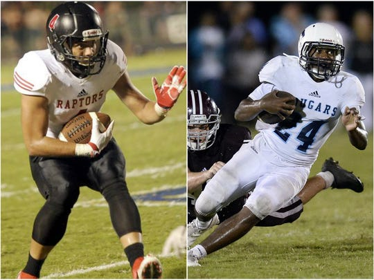 Ravenwood wide receiver D'angelo Rice (4) and Centennial running backs Zyon Lee (24)