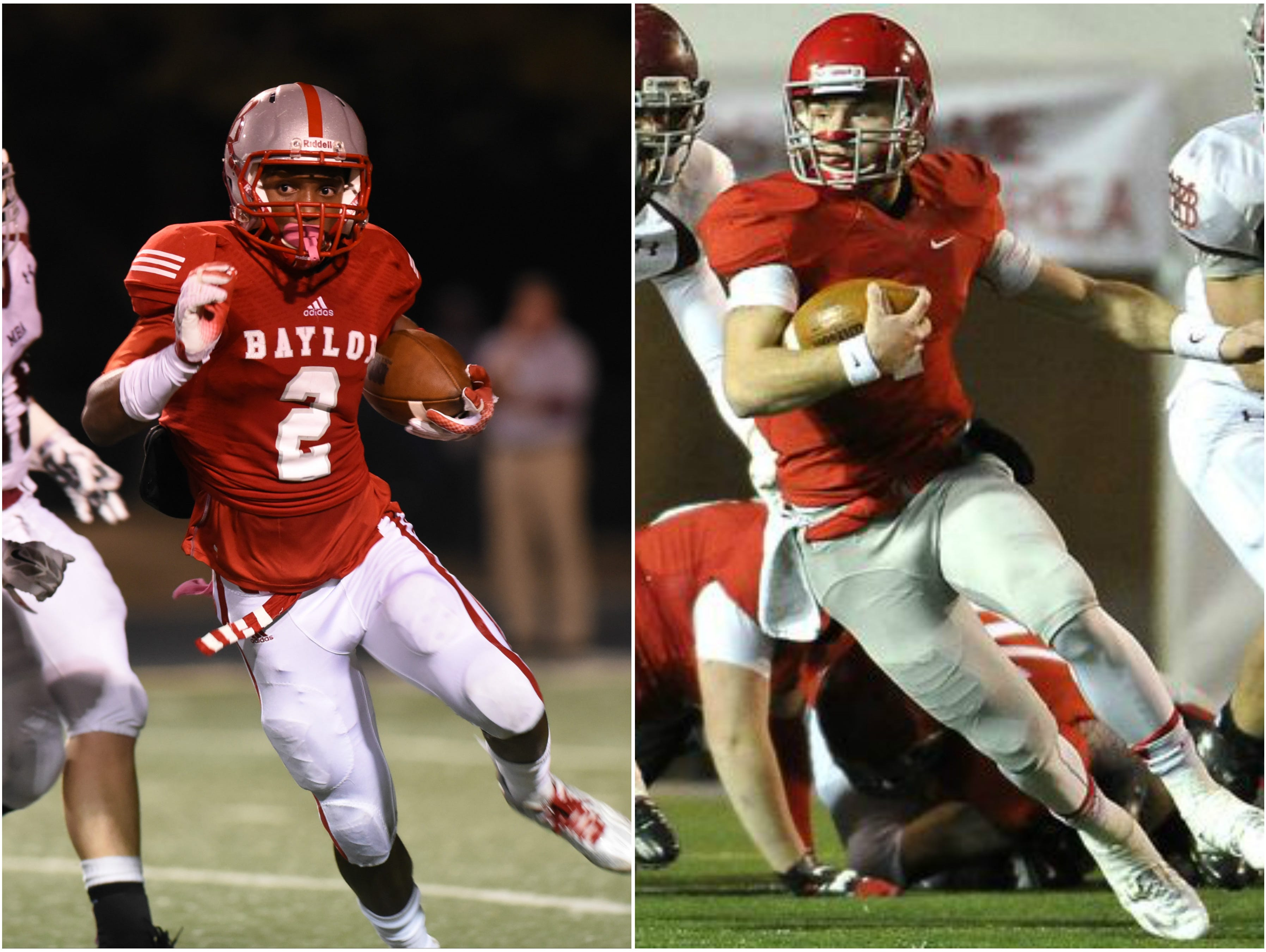 Baylor defensive back Brendon Harris (left) and Brentwood Academy quarterback Jeremiah Oatsvall (right)
