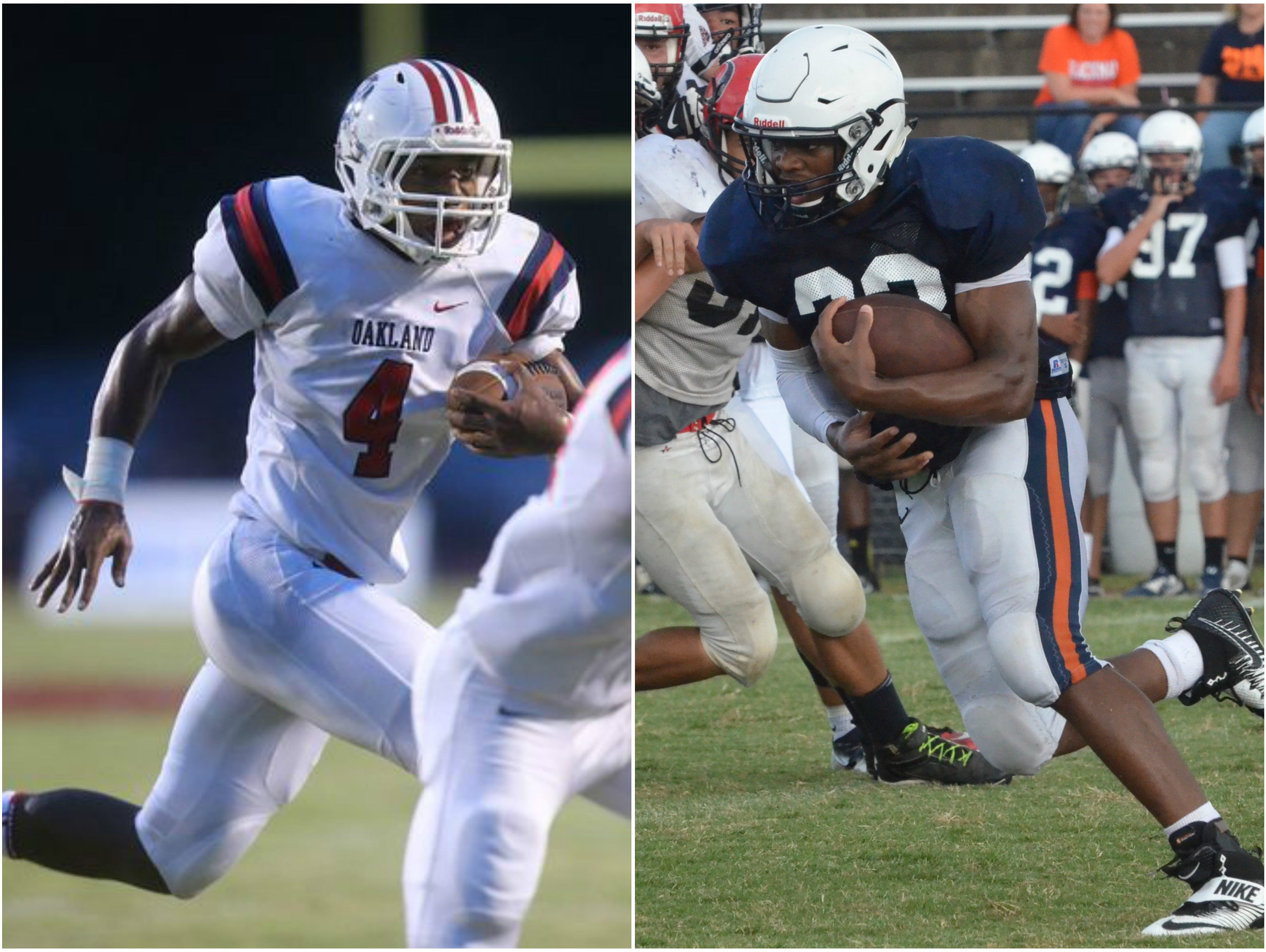 Oakland running back Lazarius Patterson (left) and Blackman running back Master Teague (right).
