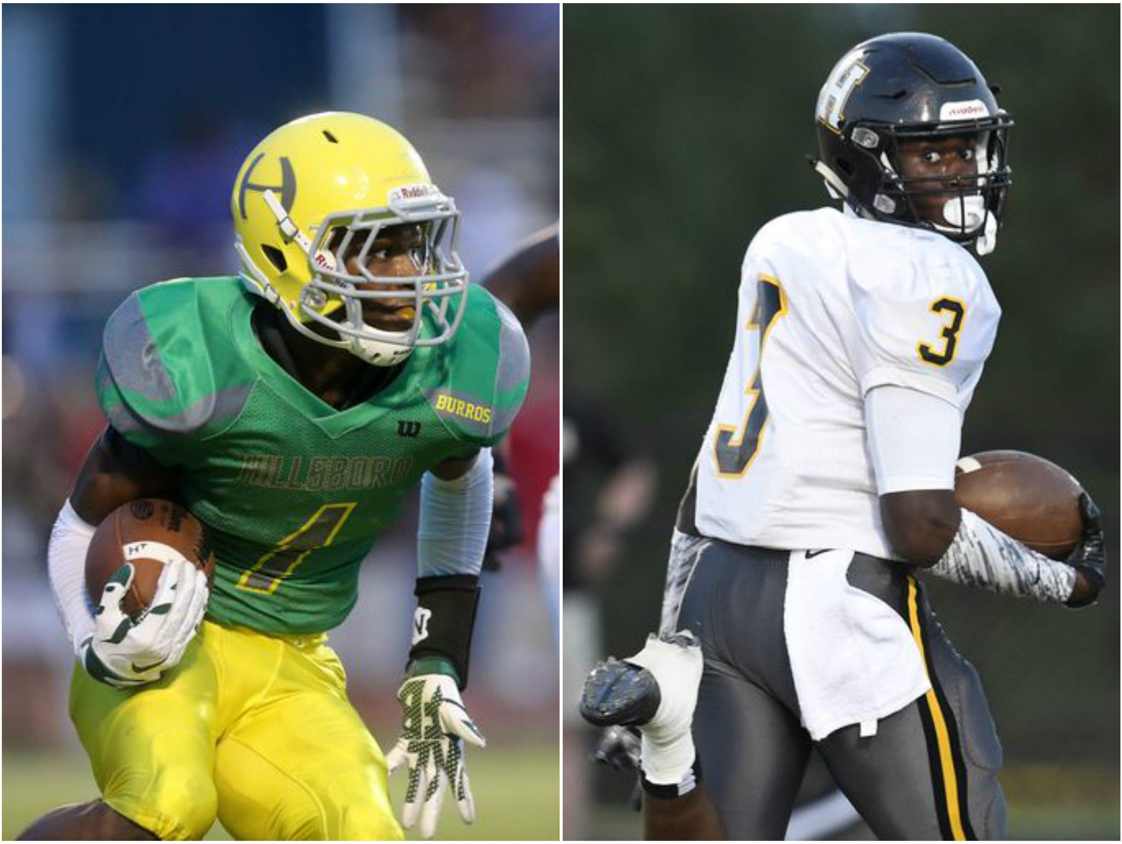 Hillsboro wide receiver JaVonta Payton (left) and Hendersonville running back Anthony Hughes (right)