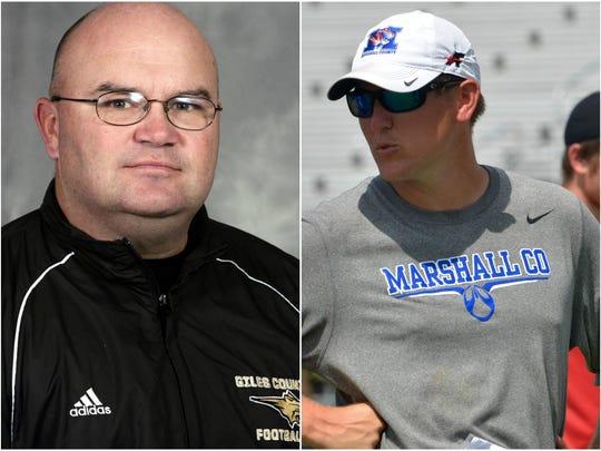 Giles County coach David O'Connor (left) and Marshall