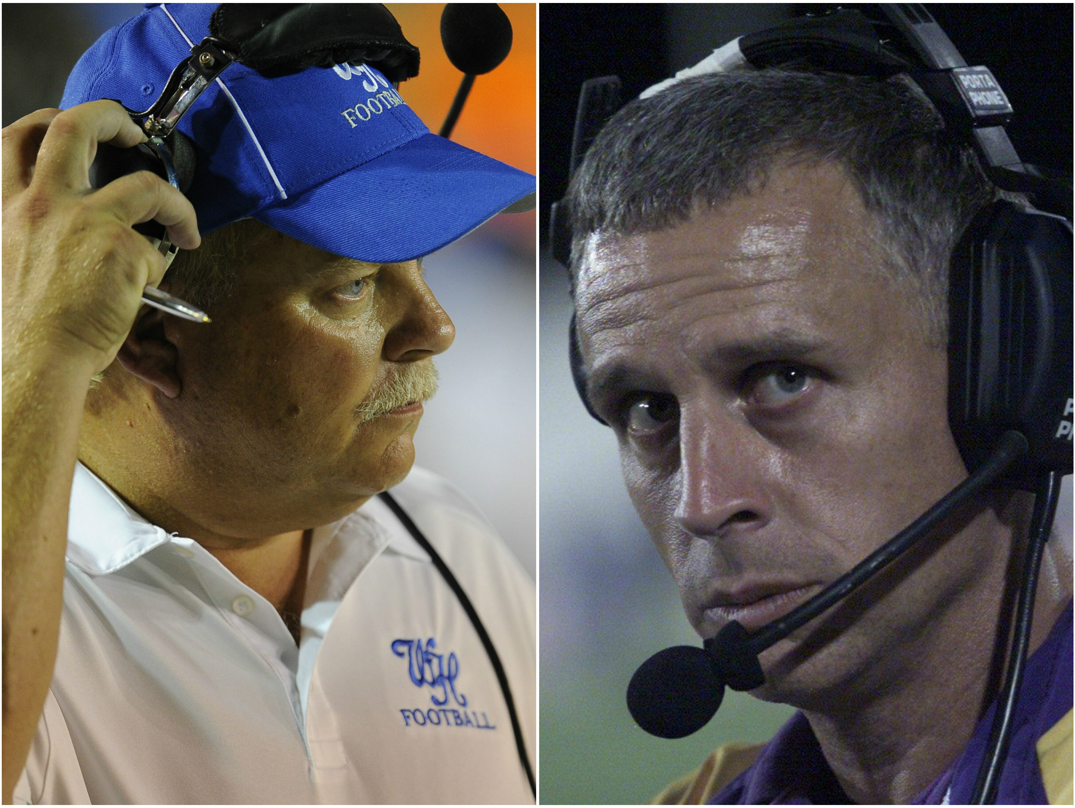White House coach Jeff Porter, left, and former Trousdale County coach Clint Satterfield