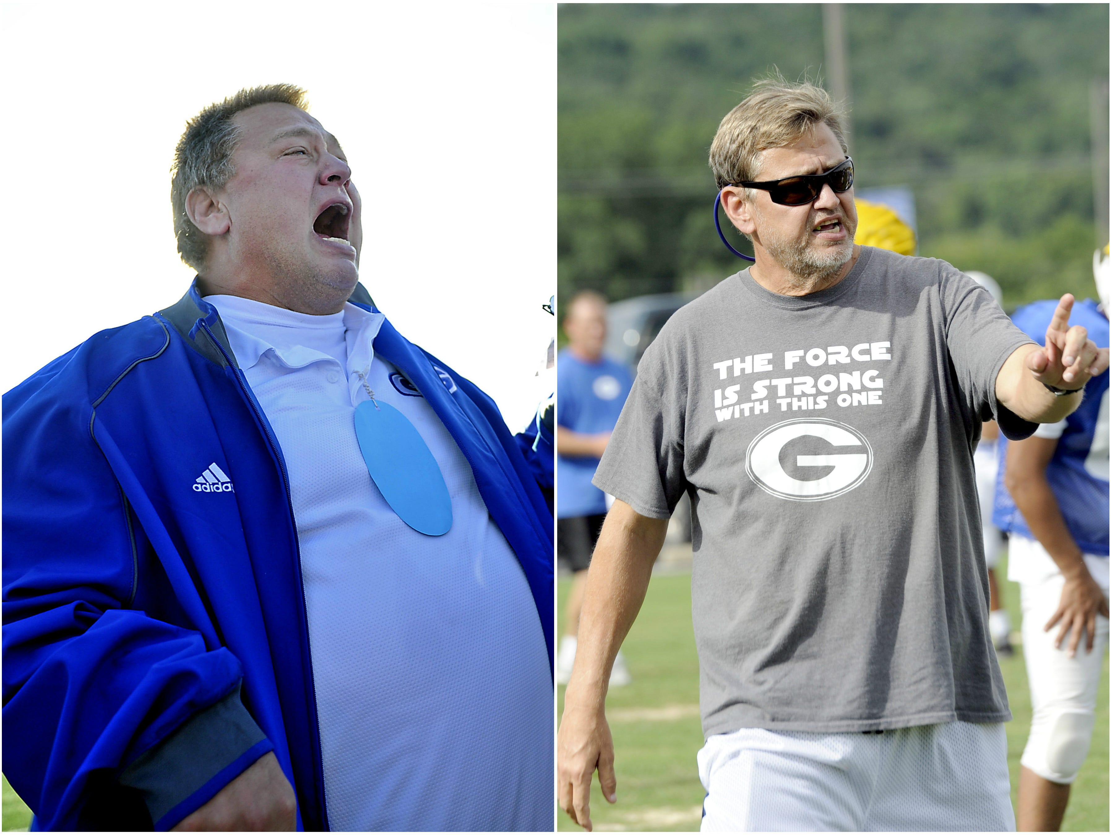 Ron Marshall is pictured after winning the Class 1A state title in 2012 (at left) and then at a recent practice this season.
