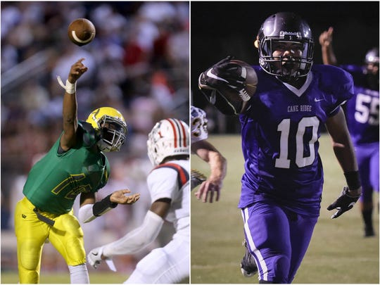 Hillsboro quarterback Tywan Goodner (left) and Cane Ridge running back Jordan Bell (right).