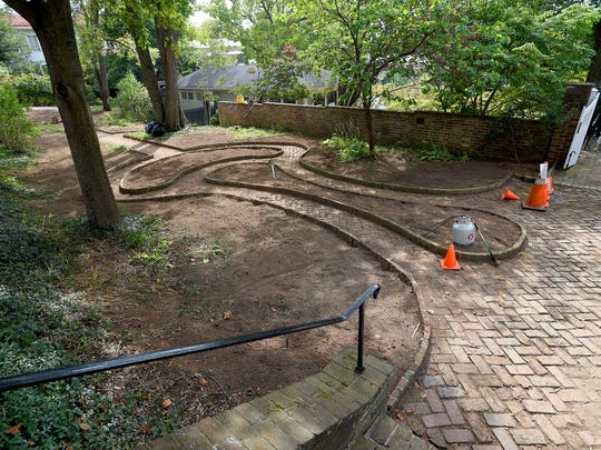 The boxwood garden at Woodrow Wilson Presidential Library are bare after the shrubs have all been removed on Wednesday, Sept. 21, 2016. The garden's shrubs were finally removed, with great care after boxwood blight, a fungal disease, wrecked havoc on them last October.