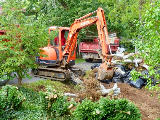 An excavator us used to dig up the stumps and roots of boxwood shrubs, which had been wrapped in plastic, from the garden at the Woodrow Wilson Presidential Library on Tuesday, Sept. 20, 2016. The garden's shrubs were finally removed, with great care after boxwood blight, a fungal disease, wrecked havoc on them last October.