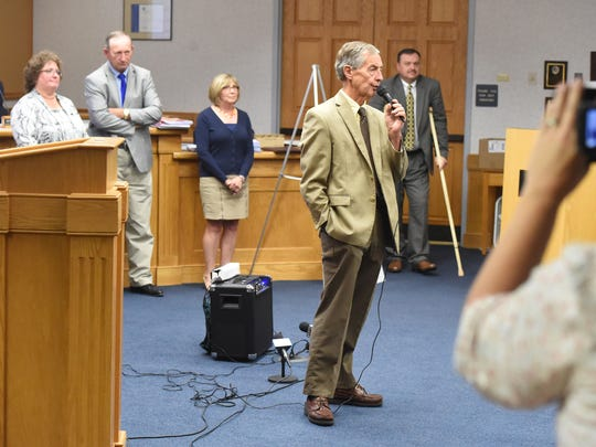Ed Long of the Shenandoah Valley Tea Party Patriots serves as moderator at an forum on the future of the Augusta County courthouse, held in Staunton on Thursday, Oct. 6, 2016.