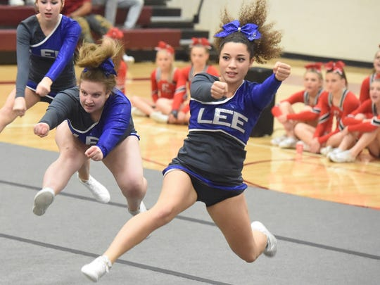 Robert E. Lee's competition cheerleading squad competes in the Conference 36 cheer competition in Stuarts Draft on Wednesday, Oct. 19, 2016.