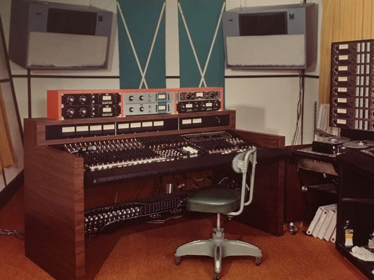 Photograph of the recording studio after Major Recording Studio went to an eight track system.