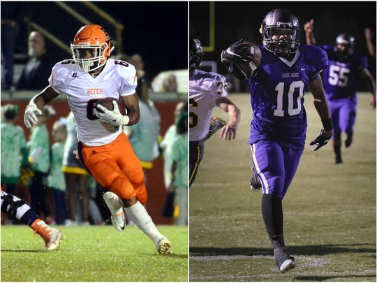Beech running back Alex Vanzant (left) and Cane Ridge running back Jordan Bell (right).