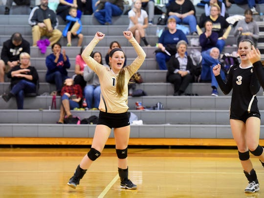 """Playing the libero position, Buffalo Gap's Emily McComas celebrates a point during a volleyball match played at Buffalo Gap on Oct. 27, 2016. """"Usually, I try to focus on backing up everybody and really reading the ball,"""" said McComas."""