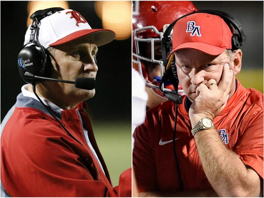 Baylor coach Phil Massey (left) and Brentwood Academy coach Cody White (right)