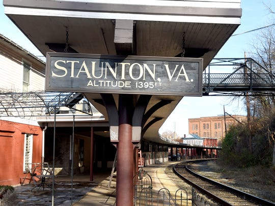 A sign marks both Staunton and its altitude of 1395 feet at the train station in downtown Staunton. Photograph taken on Monday, Dec. 5, 2016.