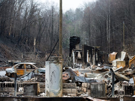Destroyed homes near the downtown area of Gatlinburg,