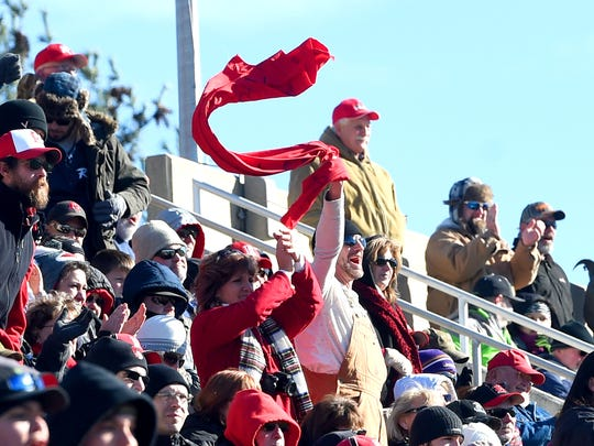 Riverheads' fans celebrate a touchdown during the Group 1A state championship football game played in Salem on Saturday, Dec. 10, 2016.