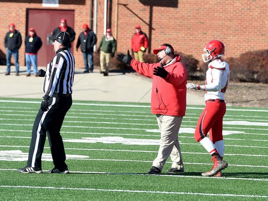 Riverheads head coach Robert Casto voices his displeasure with an officials call during the Group 1A state championship football game played in Salem on Saturday, Dec. 10, 2016.