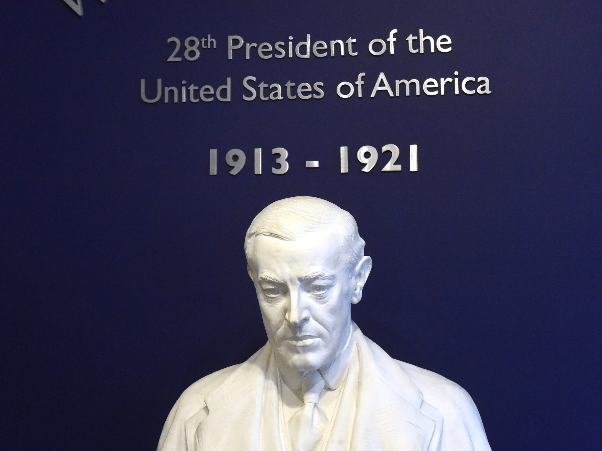 A bust of former Pres. Woodrow Wilson within the Woodrow Wilson Presidential Library and Museum.