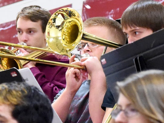 A trombonists plays as part of the Stuarts Draft High