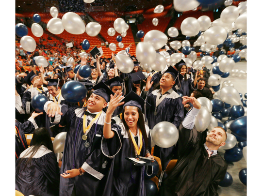 Mountain View High School graduate celebrate.