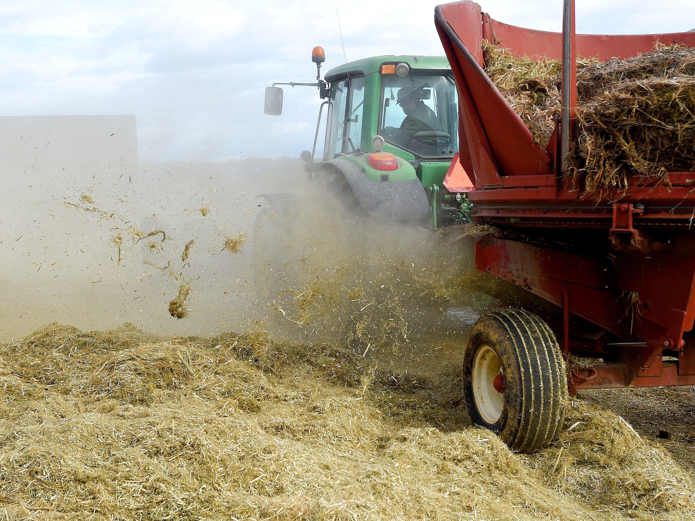 A round bale of hemp is shredded at Riverhill Farm