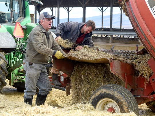 Farmer Brian Walden (right) of Charlottesville checks the shredder attached to the back of a tractor during a pause in shredding a round bale of hemp at Riverhill Farm in Port Republic on Dec. 12, 2016.