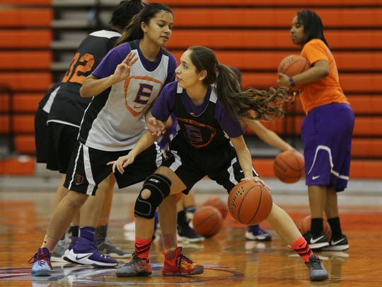Eastlake's Daniela Gutierrez goes through drills with