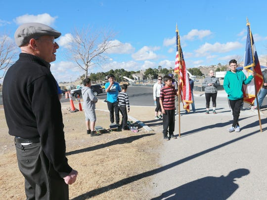 Carlos Apodaca, director of the Galatzan Recreation Center, talks about Martin Luther King, Jr.'s legacy prior to beginning the Walk with the King Memorial Walk Monday.