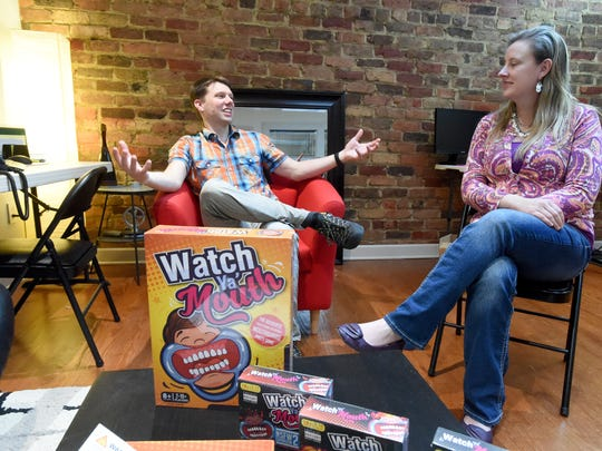 "Peter and Alison Denbigh talk about the game they created together, ""Watch Ya' Mouth,"" during an interview in Staunton on Wednesday, Jan. 18, 2017. Together, they own Skyler Innovations with Peter serving as president and Alison as chief financial officer."