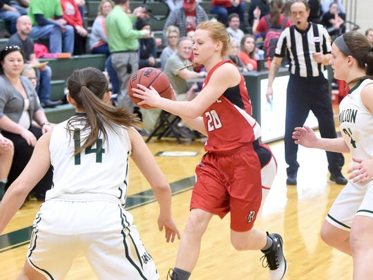 Riverheads' Blake Bartley passes the ball during a game played in Fishersville on Tuesday, Jan. 31, 2017.